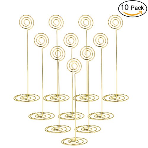 Place Card Holder 8.6 Inch Table Number Card Holders Table Picture Photo Holder Stand Wire Memo Holder clips Menu Note Name Holders for Wedding Party- 10pcs (Gold 23cm) - Long Menu Card