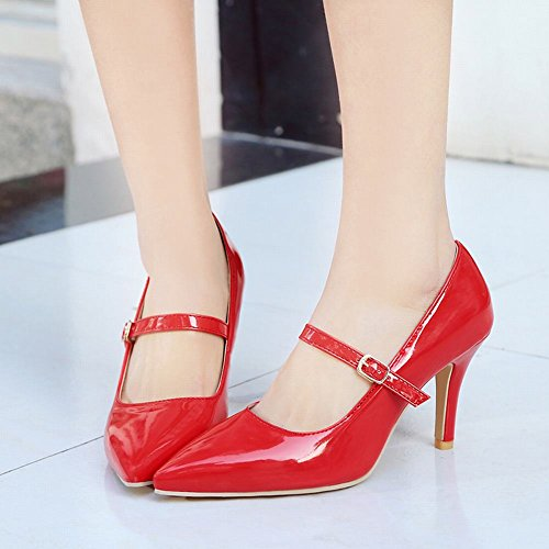 Court Women's Red Shoes Shoes Stiletto Mee Buckle Chic pAWvnTqF