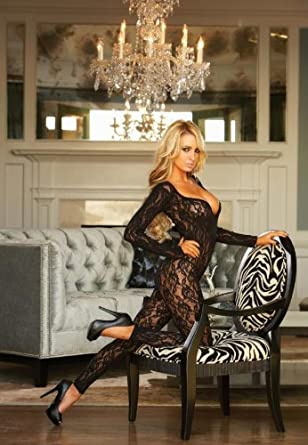 cd91b074ad3 Hustler Sex Appeal  Long Sleeve Crotchless Footless Lace Bodystocking size  6-14  Amazon.co.uk  Clothing