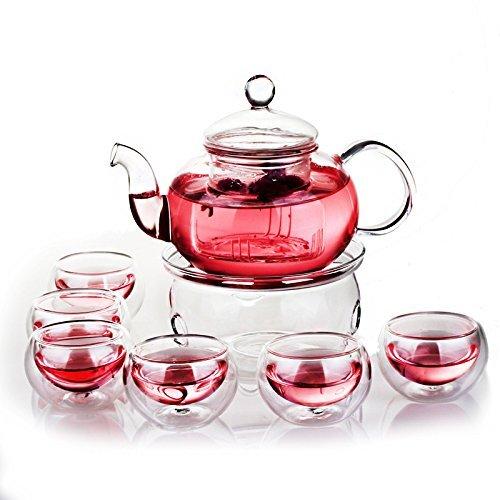 Green Yiko Heat Resistant Elegant Glass Tea Pot Set Infuser Teapot+Warmer+6 Double Wall Tea Cups Clear 600ml RLT