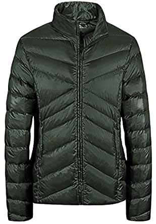 Wantdo Women's Sports Down Wear Stand Collar Lightweight Packable Short Down Jacket(Army Green,Small)