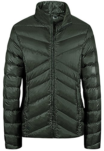 Down Jacket Green Wear Collar Stand Wantdo Lightweight Short Army Sports Down Women's Packable 6q6wWtgzvf