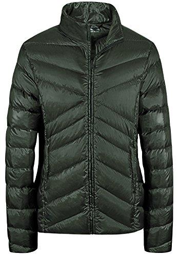Wantdo Green Jacket Army Lightweight Wear Short Down Down Packable Stand Women's Collar Sports r7qvr1