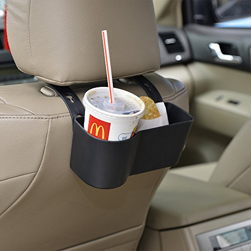 FAGUAN Car Headrest Seat Back Organizer Cup Holder Drink Pocket Food Tray Universal Liberate Your Hands. for a More Convenient Time in Your Car(Black) (Fell In Love In A Cop Car)