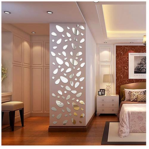 Price comparison product image Acrylic Wall Sticker,  12Pcs 3D Mirror Vinyl Removable Wall Sticker Decal Home Decor Mural Art DIY (Silver)