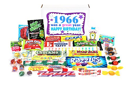 Woodstock Candy ~ 1966 53rd Birthday Gift Box of Nostalgic Retro Candy Mix from Childhood for 53 Year Old Man or Woman Born 1966 Jr]()