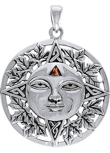 Jewelry Trends Sterling Silver Autumn Sun Face Celtic Medallion Pendant with Garnet ()