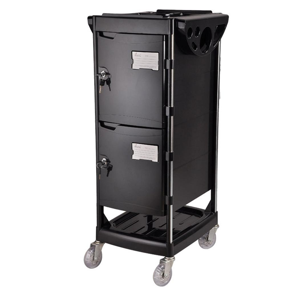Royal@ Beauty Salon Hair Care Product with Lock Tool Cabinet, Double Door with Drawer Beauty Spa Dedicated Trolley