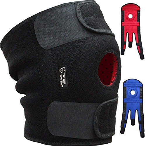 Steel Sweat Knee Brace Support Protector - Relieves Joint Pain, Arthritis, Patella Tendonitis, Mensicus Tear, ACL Lateral & Medial Ligament Sprains - Stabilize Your Knee - True Non-Slip Grip - (Best Camp Knee Brace)