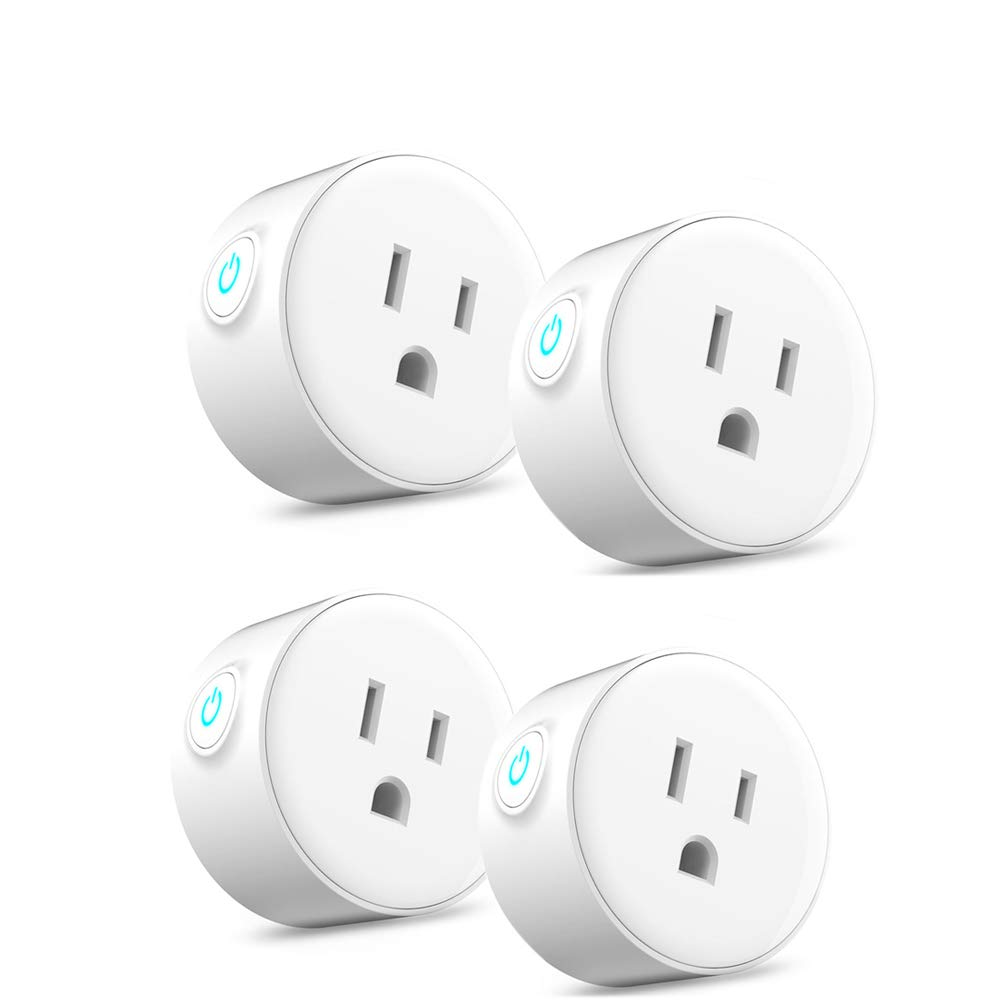 Smart Outlet 4 Pack WiFi Alexa Plugs, Works with Amazon Echo and Google Assistant, Smart Life App Remote Control, No Hub Required