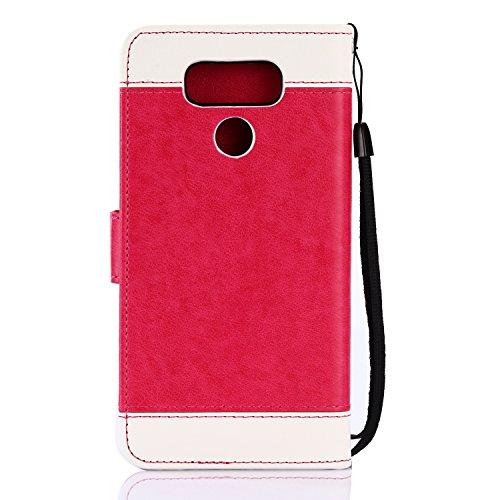 TOCASO Funda de Cuero LG G6 Funda Piel para con Tapa LG G6 [Garantía de por vida] Soporte Plegable Ranuras para Tarjetas y Billetes Estilo Libro Cierre Magnético Impresión de Flor Color sólido Impresi Pieza roja