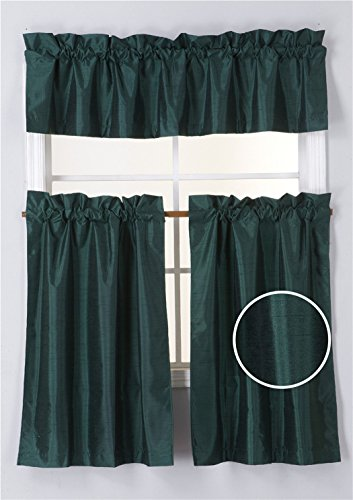 ... Curtains For Hunter Green Color Themed Kitchen Decorations.  GorgeousHomeLinen (K3) Tier And Valance Faux Silk Rod Pocket Blackout  Curtain Set For Small