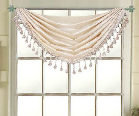 Editex Home Textiles Elaine Grommets Waterfall Valance, 36 by 37-Inch, Beige