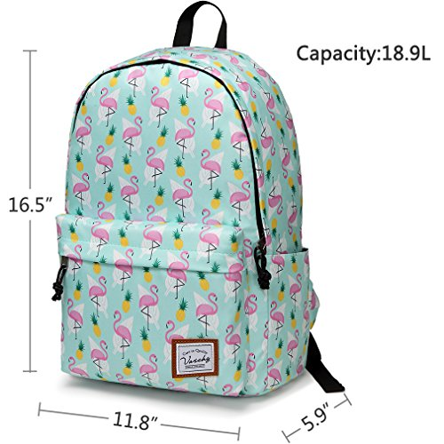 School Backpacks for Girls,Vaschy Cute Lightweight Water-Resistant w 14in Padded Laptop Sleeve in Pineapple Flamingos by Vaschy (Image #3)