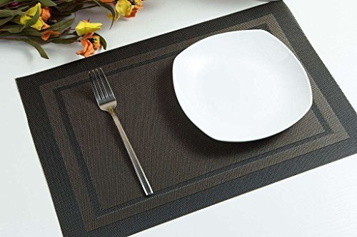 Large Product Image of Placemats, ARTAND Heat-resistant Placemats Stain Resistant Anti-skid Washable PVC Table Mats Woven Vinyl Placemats, Set of 4 (Black+Gold)