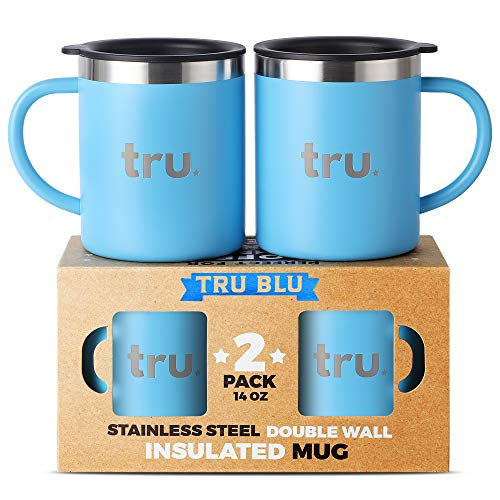 Two Ceramic Decks - Camping Coffee Mugs with Lids (Set of 2) – Stainless Steel Travel Cup, Double Wall & Insulated Metal Mug with Handle - BPA Free, Shatterproof, Dishwasher Safe (14oz)