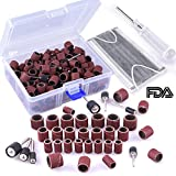AUSTOR 320 Pieces Sanding Drum Kit with Free Box Including 300 Pieces Sanding Sleeves and 18 Pieces Drum Mandrels for Dremel Rotary Tool (Bonus: 1 Pc Screwdriver and 1 Pc Disposable Earloop Face Mask)
