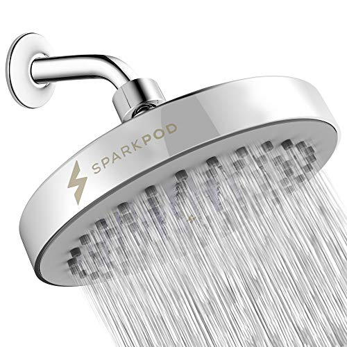 (SparkPod Shower Head - High Pressure Rain - Luxury Modern Look - Easy Tool Free Installation - The Perfect Adjustable & Heavy Duty Universal Replacement For Your Bathroom Shower Heads)