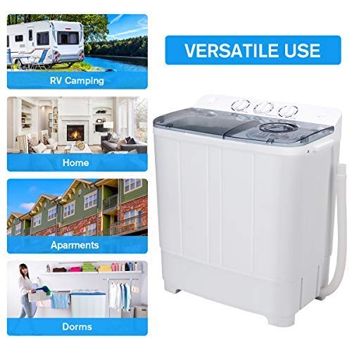 Portable Mini Compact Twin Tub Washer with Spin for Apartment//Dorm Rooms//RVs Washing Machine 12Lbs Washer /& 7Lbs Spin Capacity
