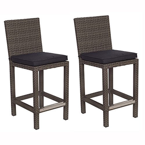 Atlantic 2-Pack Monza Barstools, Grey with Grey Cushions