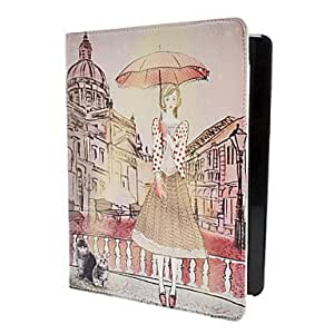 Nsaneoo - Woman with Umbrella Pattern PU Leather Case with Stand for iPad 2/3/4