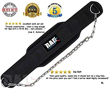 RAD Neoprene Dipping Belt// Weight Lifting//Gym Dip Belt With Metal Chain Black Ne