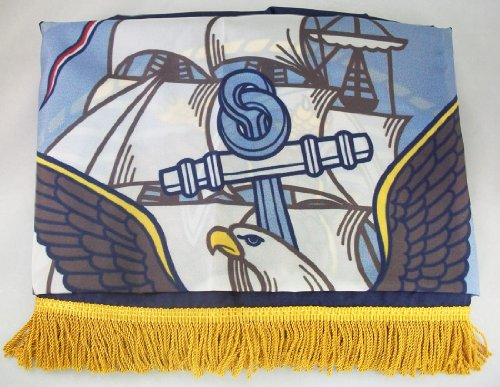 Navy - 3' x 5' Nylon Military Flag with Pole Hem and Gold Fr