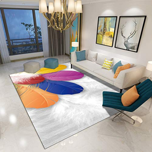 Tsavm Large Carpet for Bedroom Livingroom Floor Mat Non-Slip Colorful Feather Pattern Home Area Rug