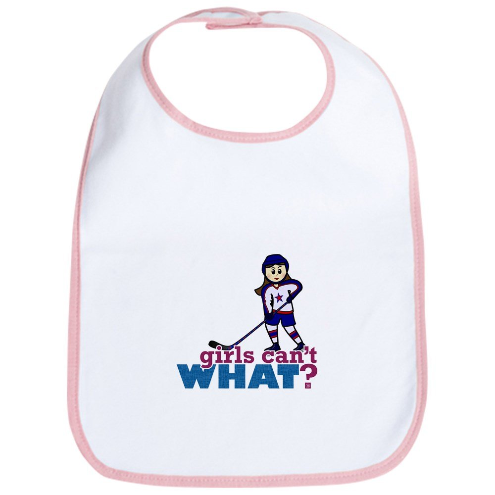CafePress - Girl Hockey Player Bib - Cute Cloth Baby Bib, Toddler Bib