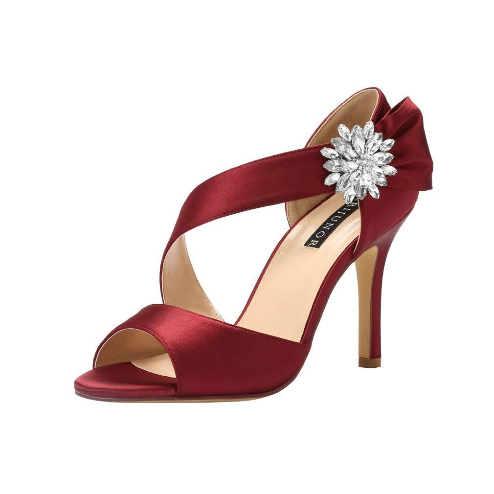 ERIJUNOR E0053 High Heel Party Sandals Woman Open Toe Stiletto Bow Shoes Wedding Evening Dress Shoes Dancing Burgundy Size 9 by ERIJUNOR