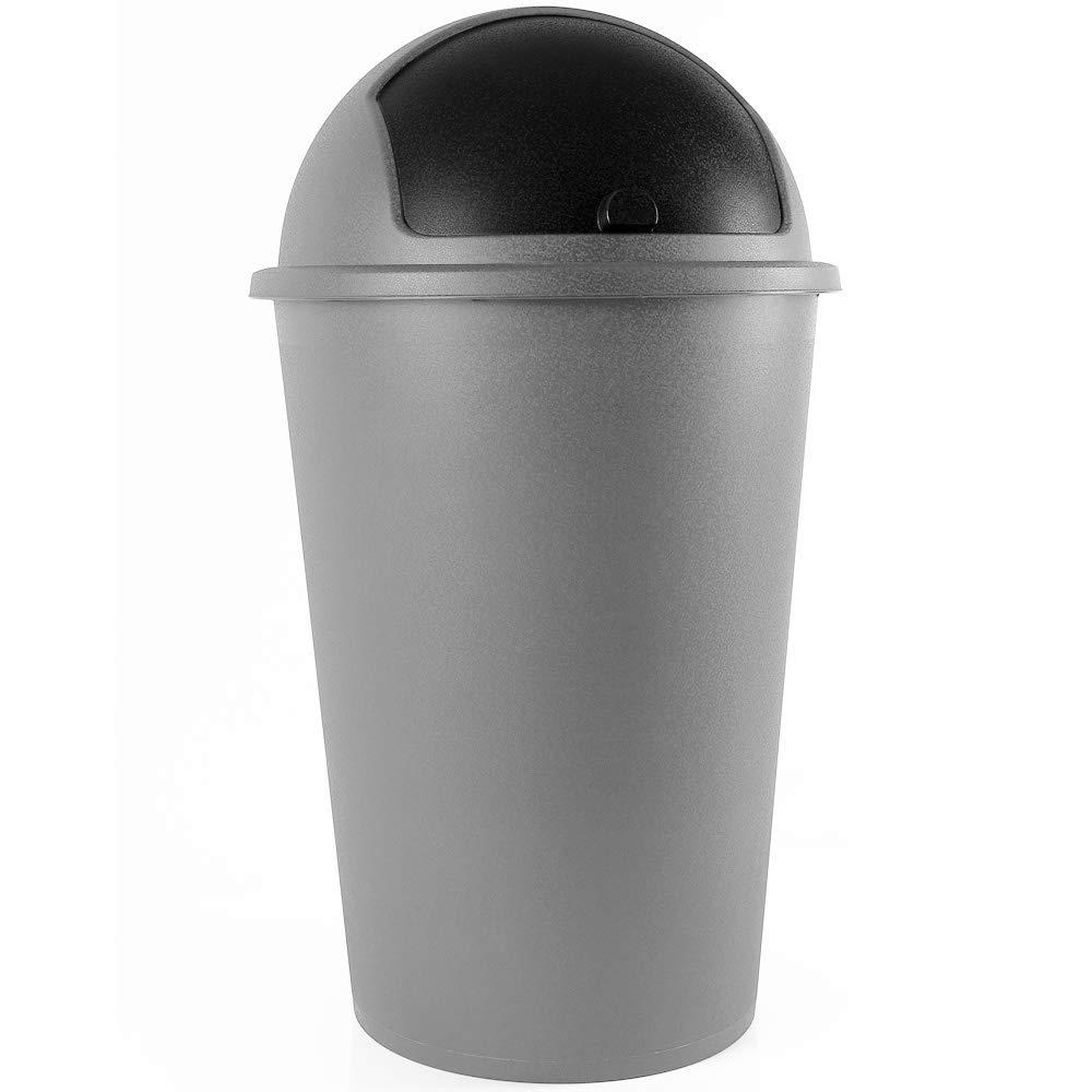 Poubelle corbeille 50 litres Push Can Gris Argent - couvercle basculant - 68X 40cm - Maison cuisine déchets product image