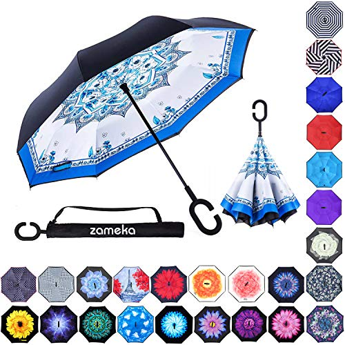 - Zameka Double Layer Inverted Umbrellas Reverse Folding Umbrella Windproof UV Protection Big Straight Umbrella Inside Out Upside Down for Car Rain Outdoor with C-Shaped Handle (Porcelain)