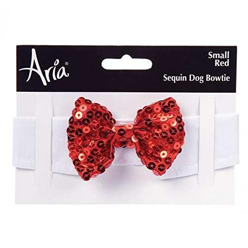 Aria Sequin Bowties for Dogs, Small, (Glitzy Red Sequin)