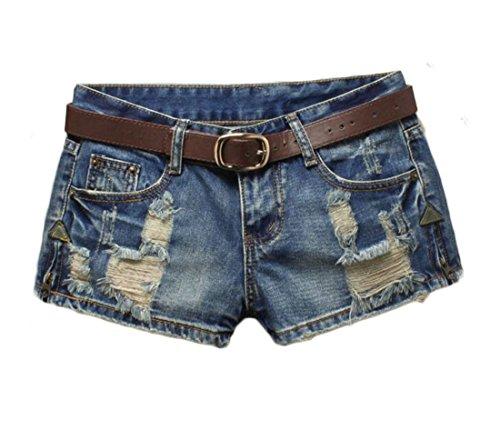 Joe Wenko Womens Denim Juniors Washed Slim Fit Low Rise Hole Hot Pants Jeans Short Denim Blue S
