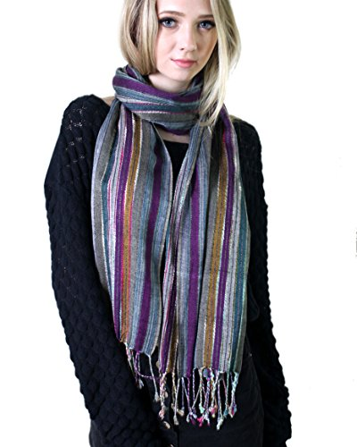 Women's Jewel Shimmer Multicolor Stripe Scarf, Metallic Pashmina Shawl (Berry Dazzling) (Christmas Party Ideas For Teens)