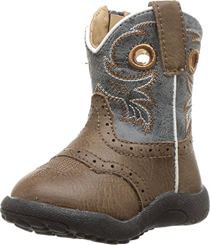 Roper Kids Baby Boy's Daniel (Infant/Toddler) Brown Faux Leather Vamp/Blue Shaft 4 M US Toddler