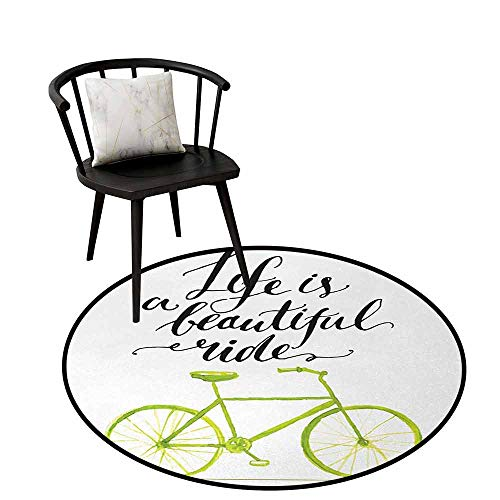 - Durable Round Rug Bicycle Will not Fade Life is A Beautiful Bike Ride Quote Print with Pastel Color Unique Bike Graphic Green Black D31(80cm)