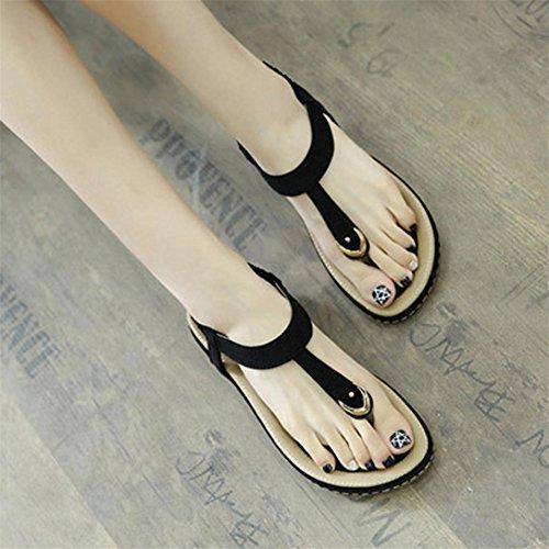 Donne flop Da Dimensioni Pantofola Peep Spiaggia Nero Rivetto Donna toe Flat Outdoor Sandali Boho Casual Scarpe Kword Di Grandi Eq0AXX