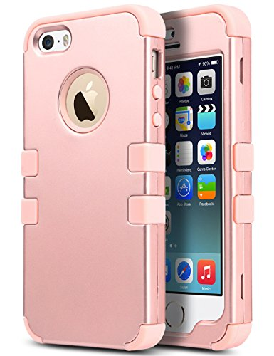 iPhone SE Case,iPhone 5S Case, ULAK Anti Slip Shock Resistance Protective Cover with Hybrid High Soft Silicone + Hard PC Case for Apple iPhone 5/5S/SE (Rose gold)