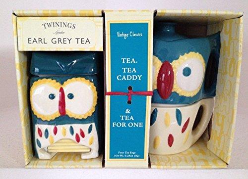 Vintage Classics Owl Tea for One & Owl Tea Caddy with Twinings Earl Grey Tea