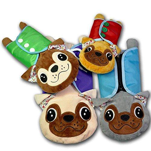Montessori Early Learning Basic Life Skills Learn to Dress Bulldog Plush Toys - Zip,Button, Snap, Lace 4 pcs/Set