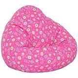 "Elite's FUN PATTERNS Poly Cotton Twill PINK FLOWER BEAN BAG Kids Large Size 32""W x 30""D x 25"" High Frameless Chair"