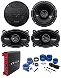 2 Hifonics ZS653 6.5' 600W Car Speakers+2 4x6 Speakers+4-Ch Amplifier+Amp Kit