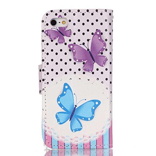 Custodia a portafoglio in vera pelle di alta qualità per iPhone SE, 5e 5S, con fessura portacarte, design creativo+ 1tappo anti polvere a fiore + 1penna stilo, Ecopelle Pelle, Three Owls, Apple iP Butterfly