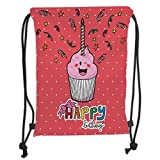 Custom Printed Drawstring Sack Backpacks Bags,Birthday Decorations,Pink Strawberry Cupcake with Candle Cute Face Confetti Bow Tie Dots,Multicolor Soft Satin,5 Liter Capacity,Adjustable String Closure,