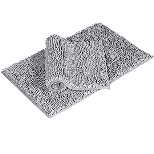 """Flamingo P Super Soft Microfiber Bathroom Rugs Non Slip Shag Bath Mat for Kitchen Bedroom, 17"""" x 24"""" and 20"""" x 32"""", Grey, Two Pack"""