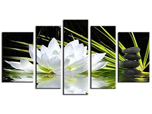 Tableau moderne XXL fleur de lotus et galets 170x100 -TOP Vente -Fabrication française -16020HX6X