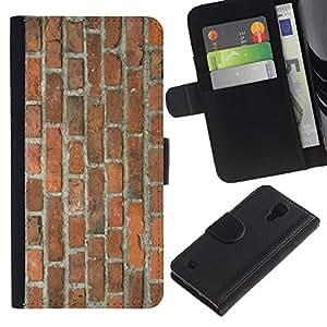 Paccase / Billetera de Cuero Caso del tirón Titular de la tarjeta Carcasa Funda para - Brick Wall Rustic Brown Orange Street Building - Samsung Galaxy S4 IV I9500