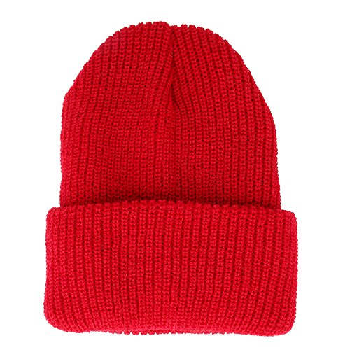 Made in USA, Acrylic Winter Watch Cap Long Cuff Folded Beanie - RED