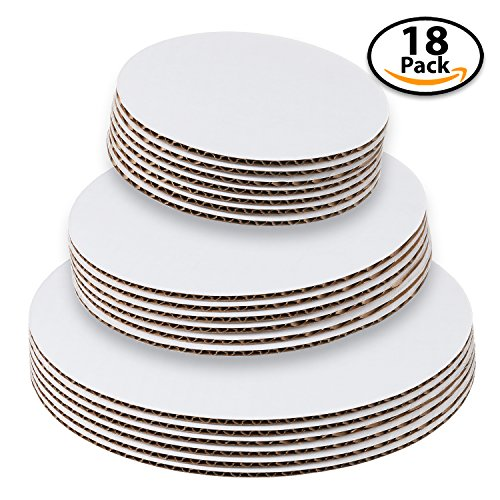 StarMar Set of 18 – Cake Board Rounds, Circle Cardboard Base, 6, 8 and 10-Inch. Perfect for Cake Decorating, 6 of Each Size